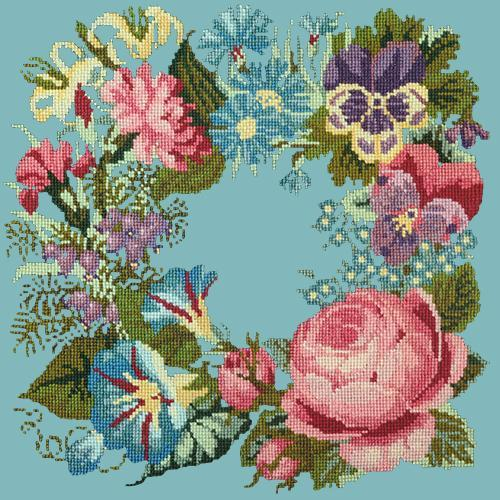 Summer Wreath Needlepoint Kit Elizabeth Bradley Design Duck Egg Blue