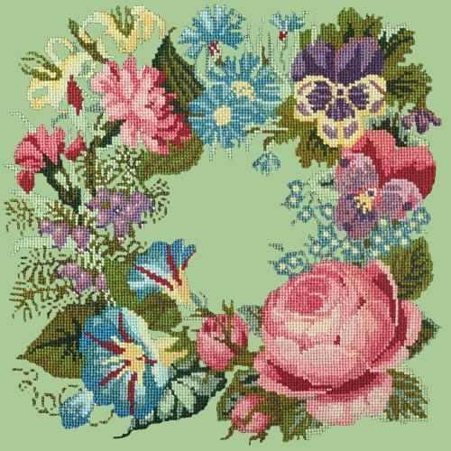 Summer Wreath Needlepoint Kit Elizabeth Bradley Design Pale Green