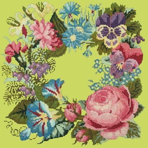Summer Wreath Needlepoint Kit Elizabeth Bradley Design Pale Lime