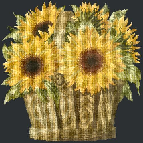 Sunflower Basket Needlepoint Kit Elizabeth Bradley Design Black