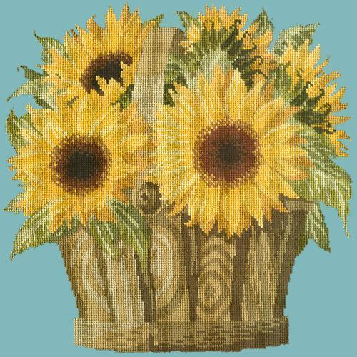 Sunflower Basket Needlepoint Kit Elizabeth Bradley Design Duck Egg Blue