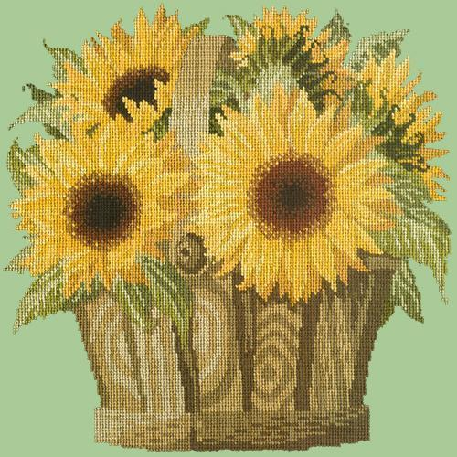 Sunflower Basket Needlepoint Kit Elizabeth Bradley Design Pale Green
