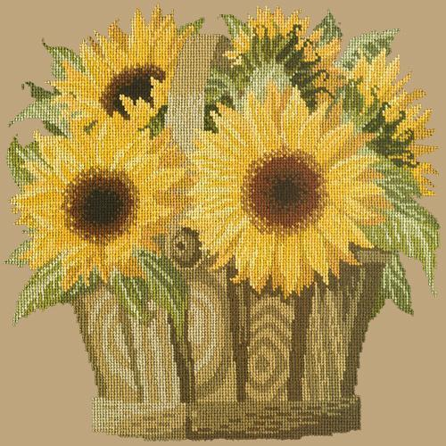 Sunflower Basket Needlepoint Kit Elizabeth Bradley Design Sand