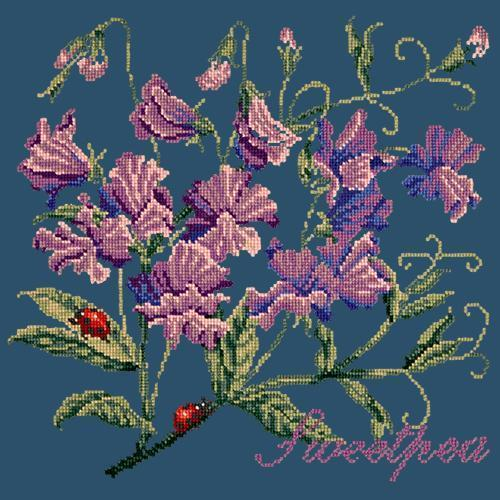 Sweetpea Needlepoint Kit Elizabeth Bradley Design Dark Blue