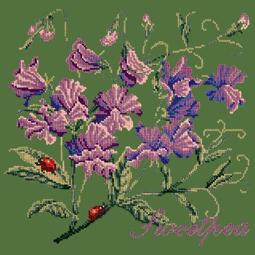 Sweetpea Needlepoint Kit Elizabeth Bradley Design Dark Green