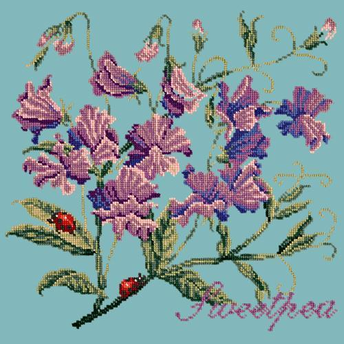 Sweetpea Needlepoint Kit Elizabeth Bradley Design Duck Egg Blue