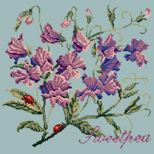 Sweetpea Needlepoint Kit Elizabeth Bradley Design Pale Blue