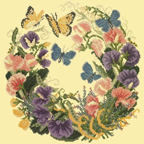 Sweetpeas Needlepoint Kit Elizabeth Bradley Design Butter Yellow