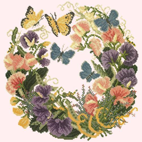 Sweetpeas Needlepoint Kit Elizabeth Bradley Design Cream