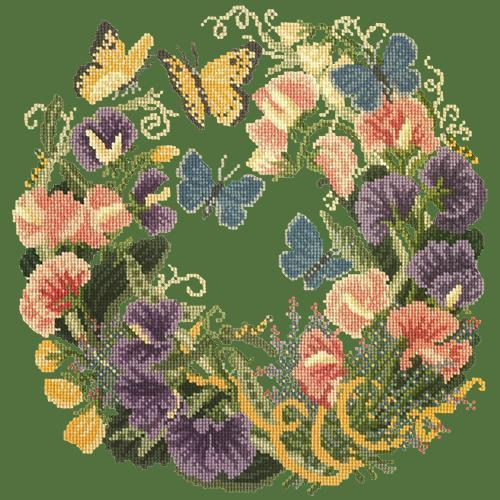 Sweetpeas Needlepoint Kit Elizabeth Bradley Design Dark Green