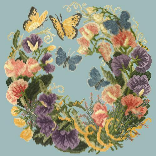 Sweetpeas Needlepoint Kit Elizabeth Bradley Design Pale Blue