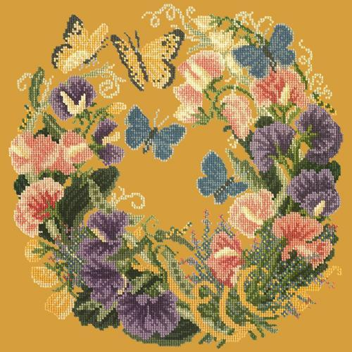 Sweetpeas Needlepoint Kit Elizabeth Bradley Design Yellow