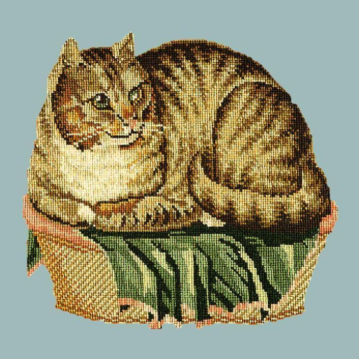 The Contented Cat Needlepoint Kit Elizabeth Bradley Design Pale Blue