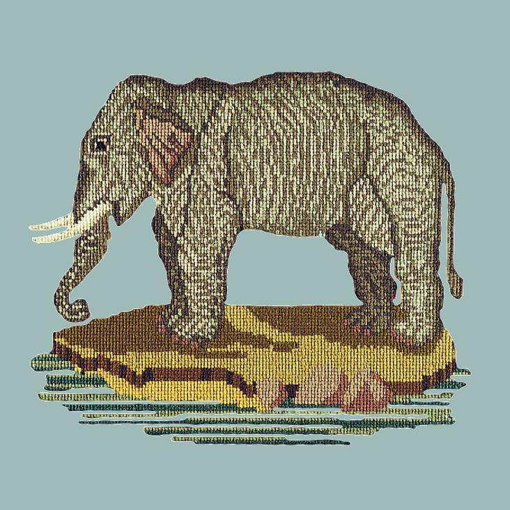 The Elephant Needlepoint Kit Elizabeth Bradley Design Pale Blue