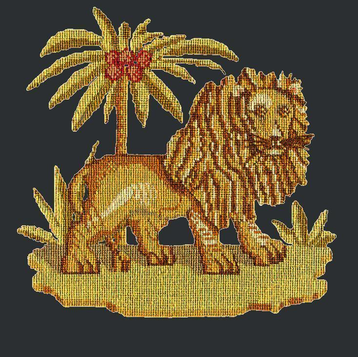 The Lion Needlepoint Kit Elizabeth Bradley Design Black