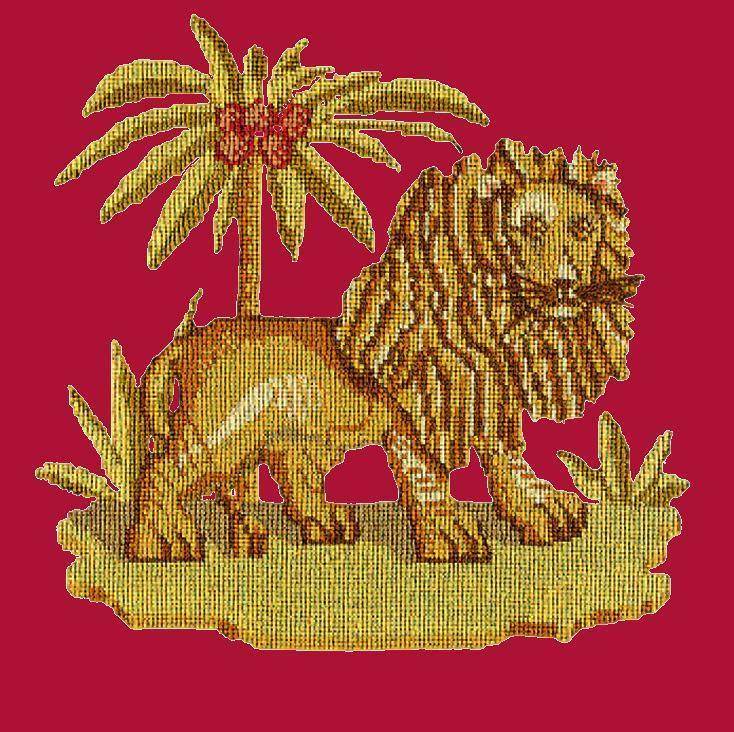 The Lion Needlepoint Kit Elizabeth Bradley Design Bright Red