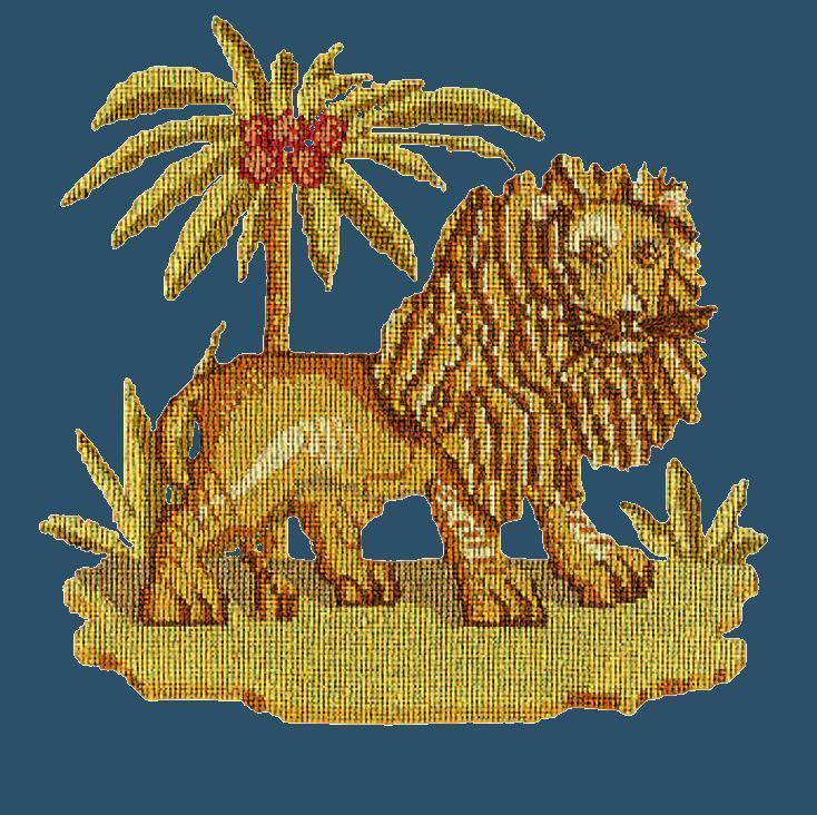 The Lion Needlepoint Kit Elizabeth Bradley Design Dark Blue