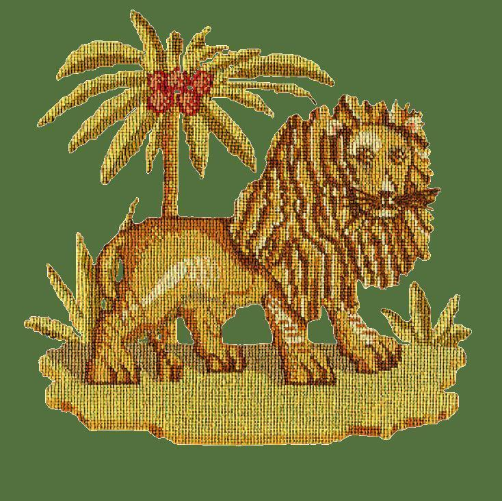 The Lion Needlepoint Kit Elizabeth Bradley Design Dark Green