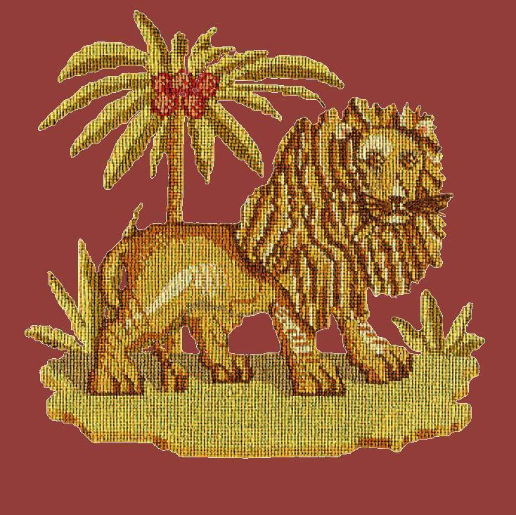 The Lion Needlepoint Kit Elizabeth Bradley Design Dark Red