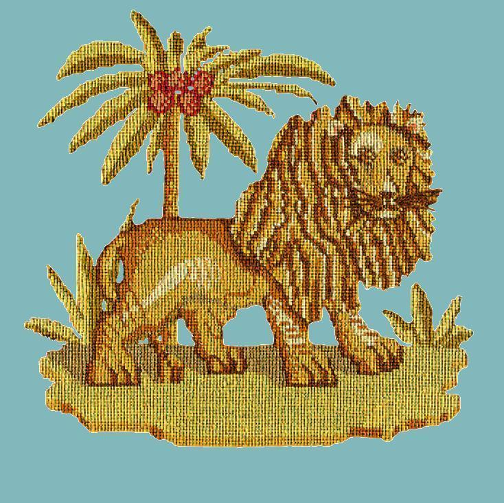 The Lion Needlepoint Kit Elizabeth Bradley Design Duck Egg Blue