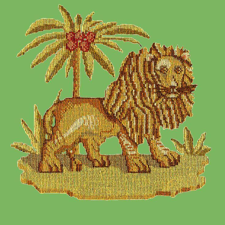 The Lion Needlepoint Kit Elizabeth Bradley Design Grass Green
