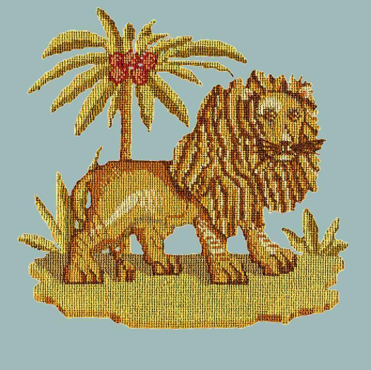 The Lion Needlepoint Kit Elizabeth Bradley Design Pale Blue