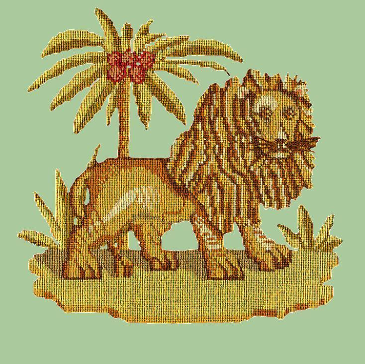The Lion Needlepoint Kit Elizabeth Bradley Design Pale Green