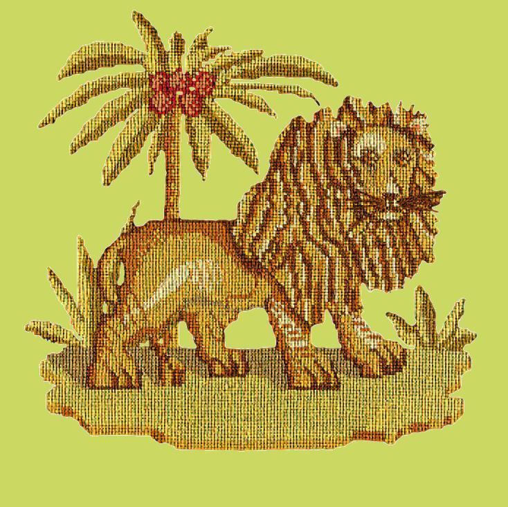 The Lion Needlepoint Kit Elizabeth Bradley Design Pale Lime