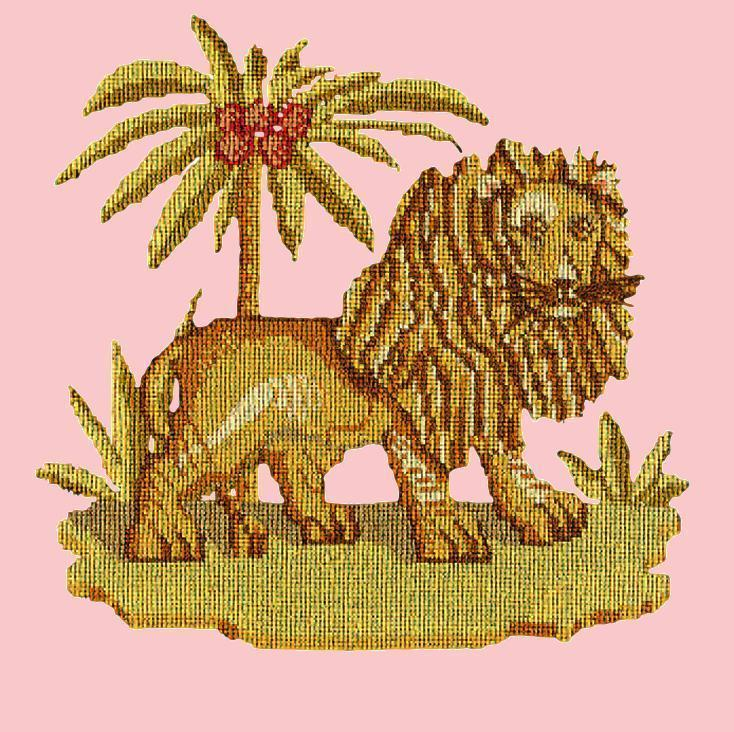 The Lion Needlepoint Kit Elizabeth Bradley Design Pale Rose
