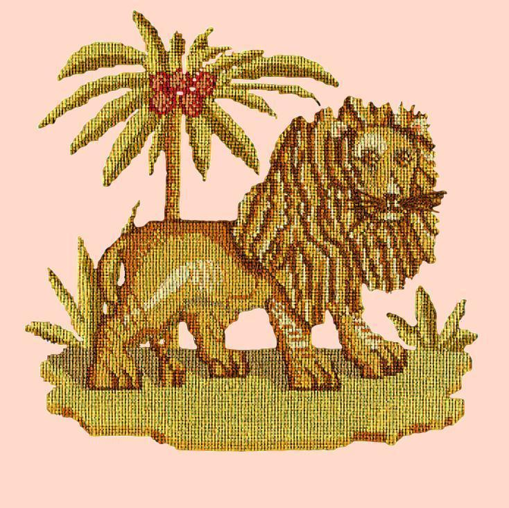 The Lion Needlepoint Kit Elizabeth Bradley Design Salmon Pink