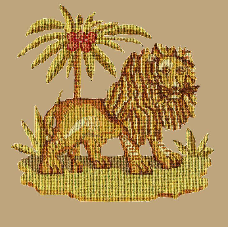 The Lion Needlepoint Kit Elizabeth Bradley Design Sand