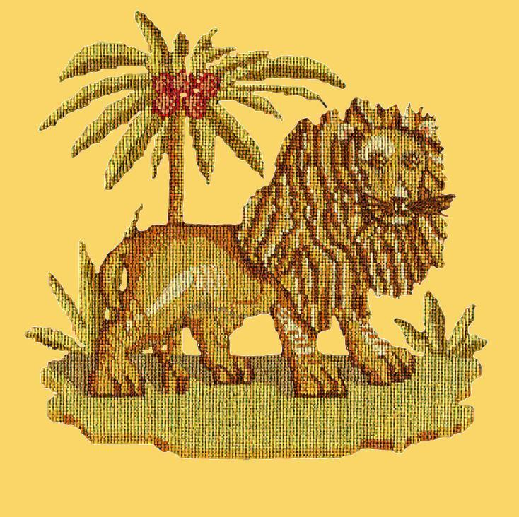 The Lion Needlepoint Kit Elizabeth Bradley Design Sunflower Yellow