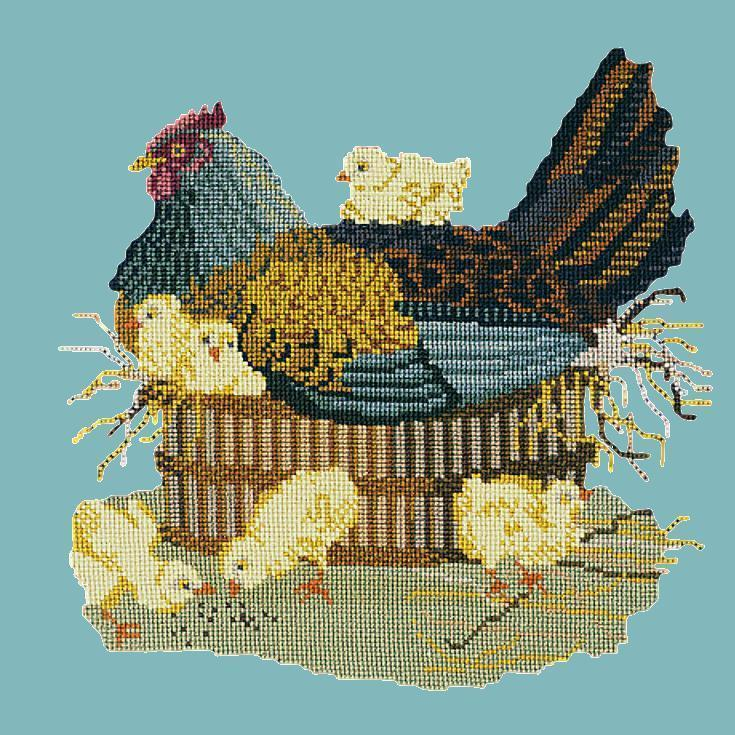 The Mother Hen Needlepoint Kit Elizabeth Bradley Design Duck Egg Blue