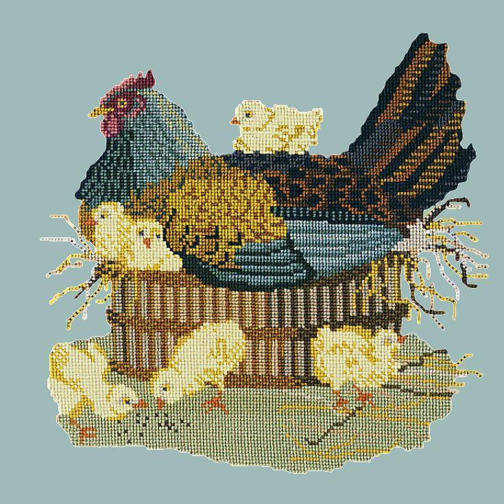 The Mother Hen Needlepoint Kit Elizabeth Bradley Design Pale Blue