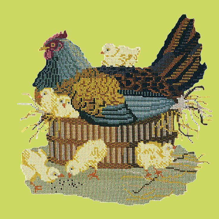 The Mother Hen Needlepoint Kit Elizabeth Bradley Design Pale Lime