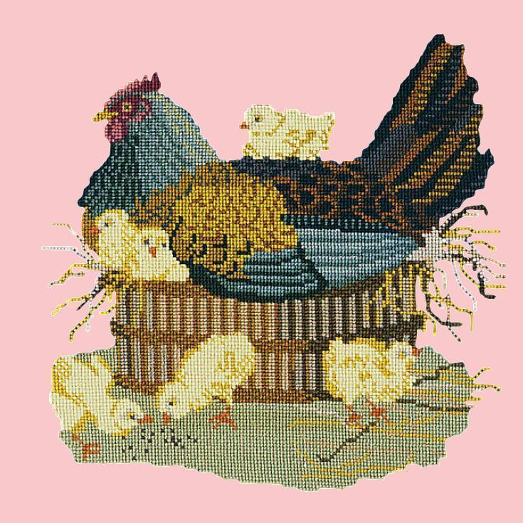 The Mother Hen Needlepoint Kit Elizabeth Bradley Design Pale Rose