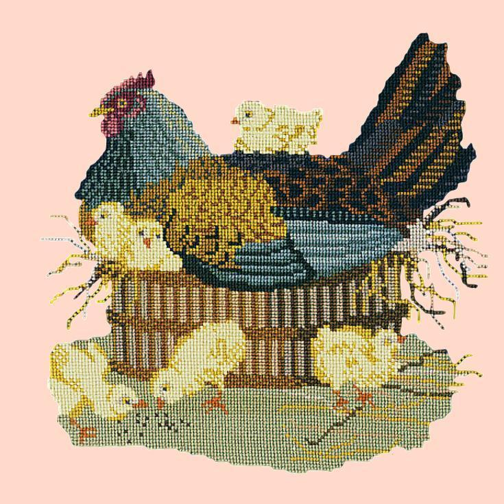The Mother Hen Needlepoint Kit Elizabeth Bradley Design Salmon Pink