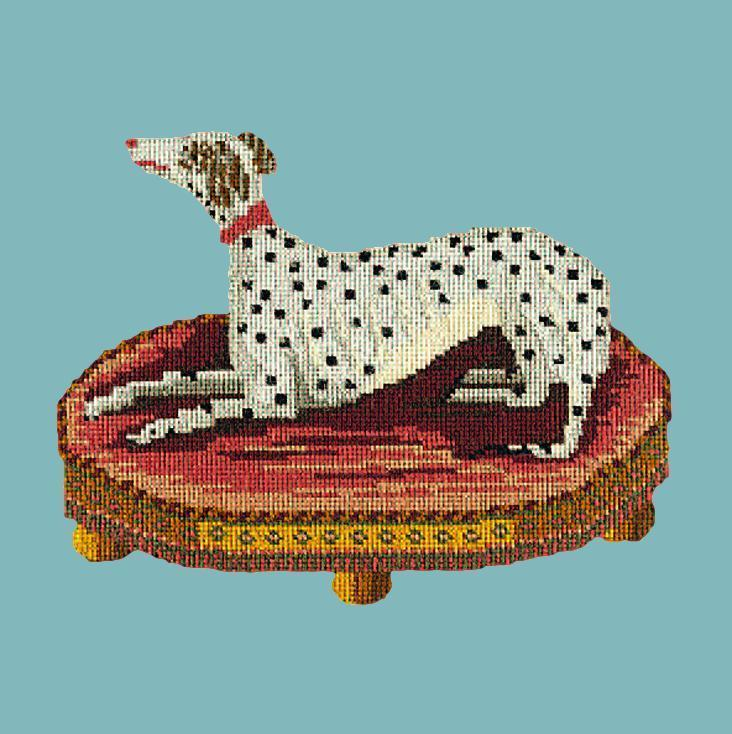 The Spotted Dog Needlepoint Kit Elizabeth Bradley Design Duck Egg Blue