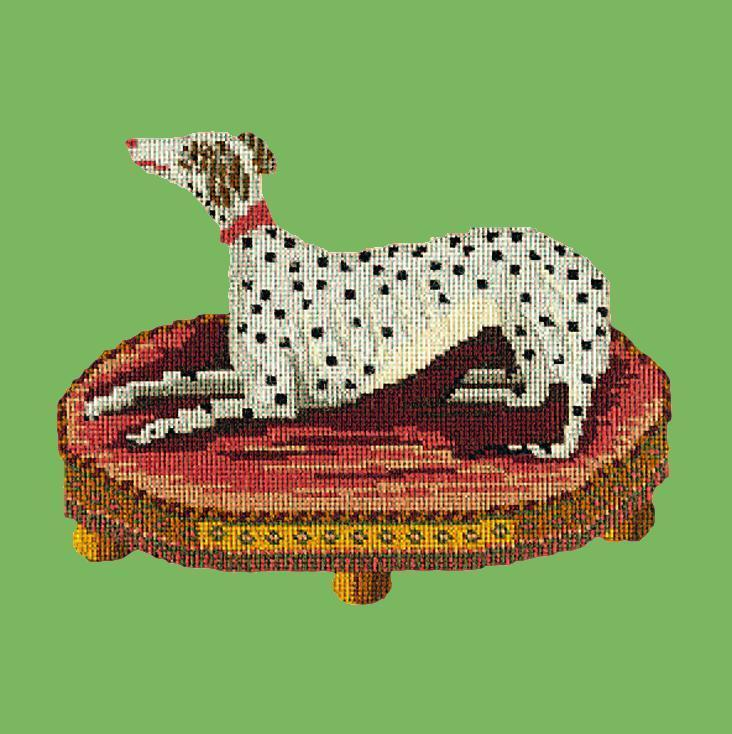 The Spotted Dog Needlepoint Kit Elizabeth Bradley Design Grass Green