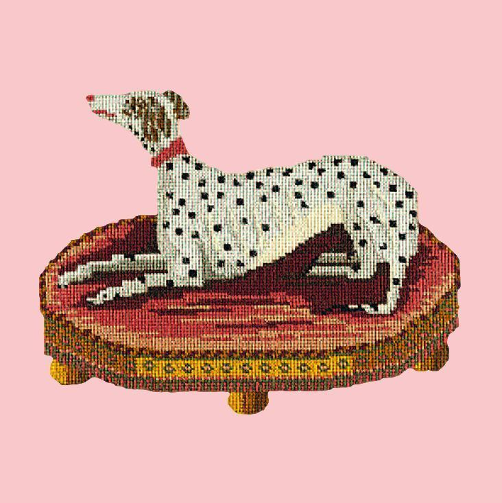 The Spotted Dog Needlepoint Kit Elizabeth Bradley Design Pale Rose