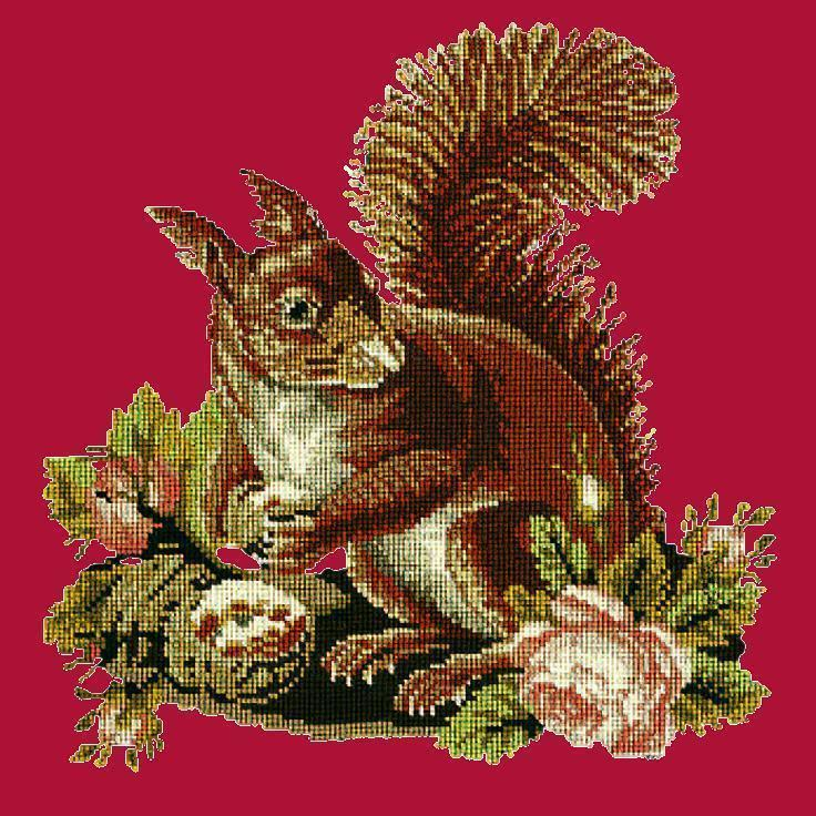The Squirrel Needlepoint Kit Elizabeth Bradley Design Bright Red