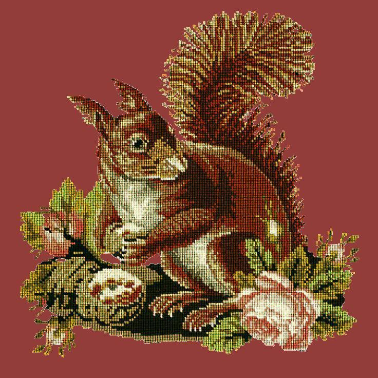 The Squirrel Needlepoint Kit Elizabeth Bradley Design Dark Red