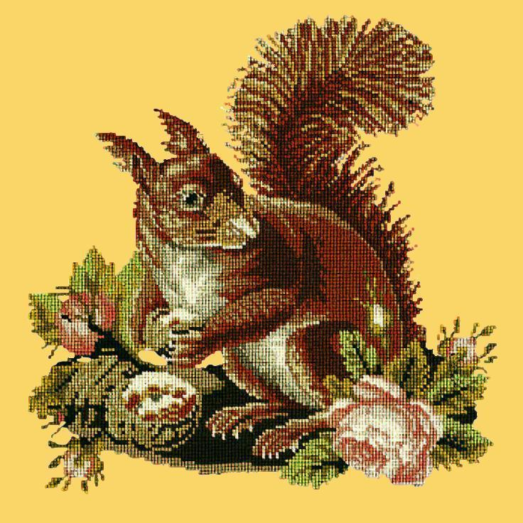 The Squirrel Needlepoint Kit Elizabeth Bradley Design Sunflower Yellow