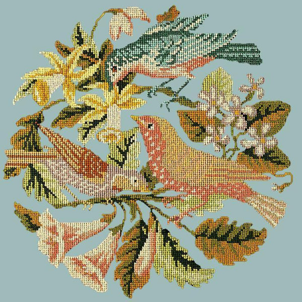 The Three Birds Needlepoint Kit Elizabeth Bradley Design Pale Blue