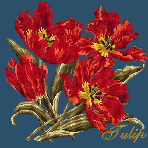 Tulip Needlepoint Kit Elizabeth Bradley Design Dark Blue