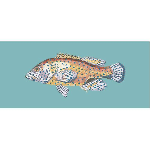 Vermilion Seabass Needlepoint Kit Elizabeth Bradley Design Duck Egg Blue
