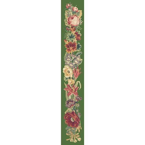 Victorian Flower Bell Pull Needlepoint Kit Elizabeth Bradley Design Dark Green