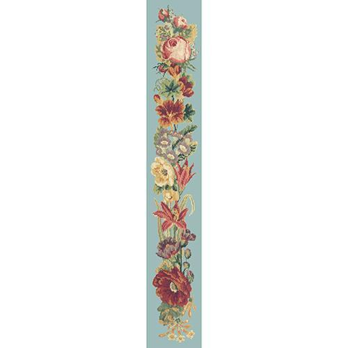 Victorian Flower Bell Pull Needlepoint Kit Elizabeth Bradley Design Pale Blue