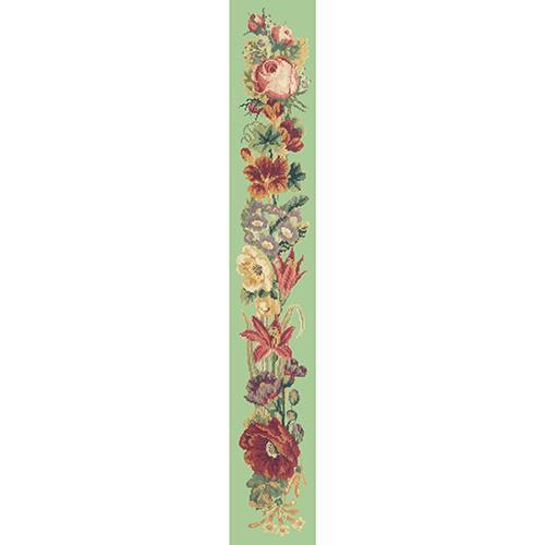 Victorian Flower Bell Pull Needlepoint Kit Elizabeth Bradley Design Pale Green