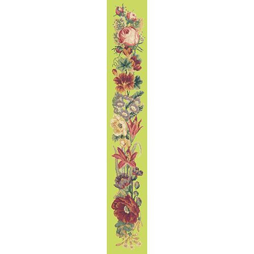 Victorian Flower Bell Pull Needlepoint Kit Elizabeth Bradley Design Pale Lime